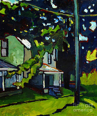 Small Town Scene Painting - The Cicadas Made The Trees Turn Blue by Charlie Spear
