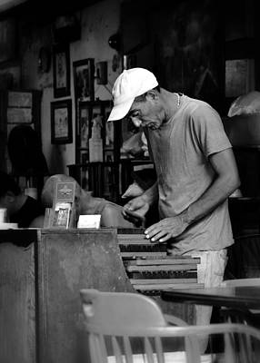 Photograph - The Cigar Packer In Black And White by Nadalyn Larsen