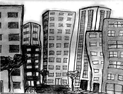 Drawing - The City Lives by Matt Harang