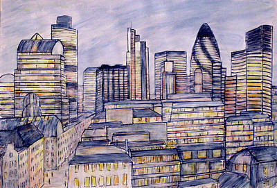 Drawing - The City London by K McCoy