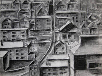 Drawing - The City by Molly Williams