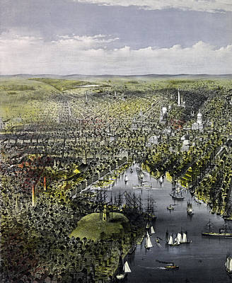 The City Of Baltimore, Circa 1880 Art Print by Currier and Ives