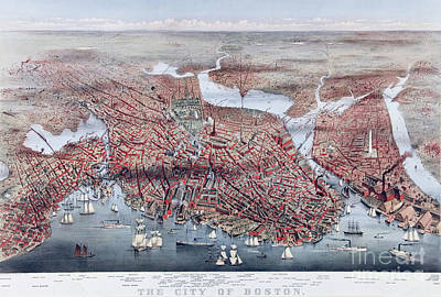 Harbor Drawing - The City Of Boston by Charles Parsons