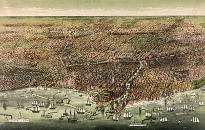 Grant Park Drawing - The City Of Chicago, Circa 1892 by Currier and Ives