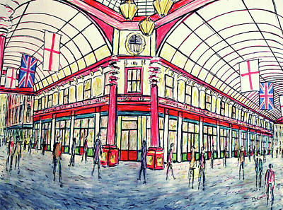 Drawing - The City Of London - Leadenhall Market by K McCoy