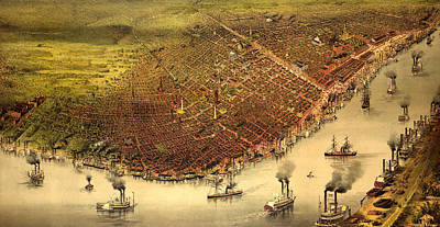 Victorian Era Painting - The City Of New Orleans, And The Mississippi River Lake Pontchartrain In Distance, Circa 1885 by Currier and Ives