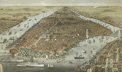 Painting - The City Of New York by Currier and Ives