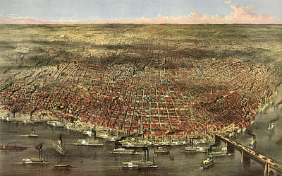 Currier And Ives Painting - The City Of St. Louis, Circa 1874 by Currier and Ives