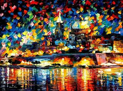 The City Of Valetta - Malta Art Print by Leonid Afremov