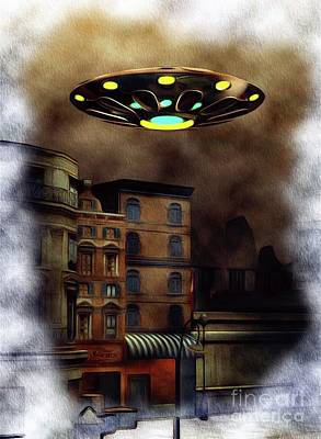 Science Fiction Paintings - The City Visit - UFO Invasion by Raphael Terra