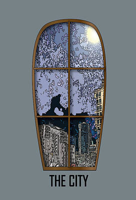 The City Window Art Print by Simone Pompei