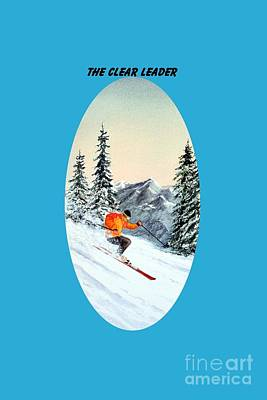 Skiing Action Painting - The Clear Leader Skiing by Bill Holkham