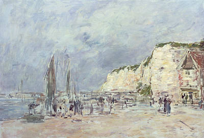 Shore Lines Painting - The Cliffs At Dieppe And The Petit Paris by Eugene Louis Boudin