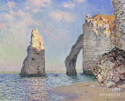 Beach Oil Painting - The Cliffs At Etretat by Claude Monet