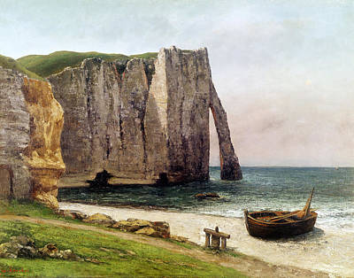 Coastal Fishing Painting - The Cliffs At Etretat by Gustave Courbet