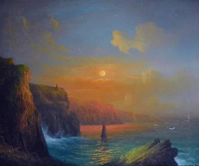 Ireland The Cliffs Of Moher  Art Print by Joe Gilronan