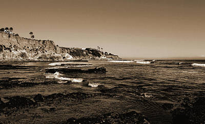 Photograph - The Cliffs Of Pismo Beach Sepia by Judy Vincent