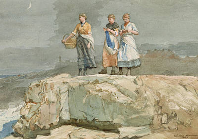 Lady Artist Drawing - The Cliffs by Winslow Homer