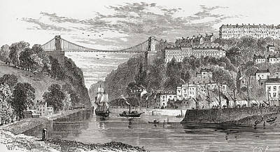 Suspension Drawing - The Clifton Suspension Bridge, Spanning by Vintage Design Pics