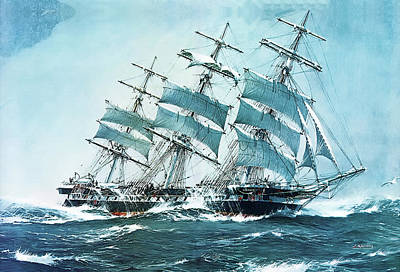 Painting - The Clipper Ship Sobraon by Jack Spurling