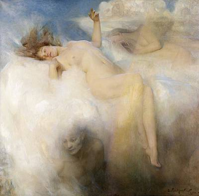 Nudes Painting - The Cloud by Arthur Hacker