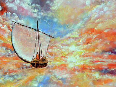 Paramhansa Yogananda Painting - The Cloud Boatman by Ashleigh Dyan Bayer