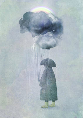 Rain Drawing - The Cloud Seller by Eric Fan