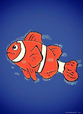 Clown Fish Drawing - Clown Fish  by CJ Shriver