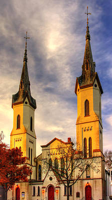 Photograph - The Clustered Spires Series - Frederick Evangelical Lutheran Church No. 19b - Frederick Maryland by Michael Mazaika