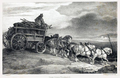 Drawing -  The Coal Waggon by Theodore Gericault
