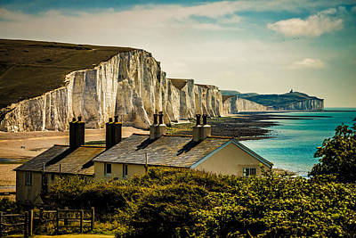The Coast Guard Cottages And The Seven Sisters Art Print by Chris Lord