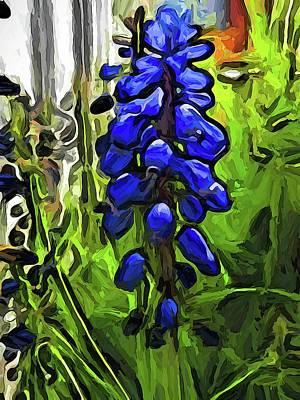 The Cobalt Blue Flowers And The Long Green Grass Art Print