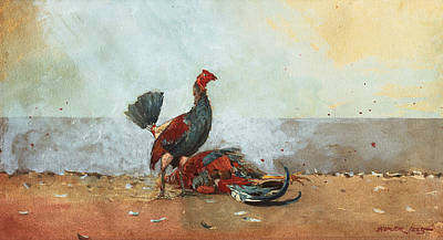 Rooster Painting - The Cock Fight by Winslow Homer