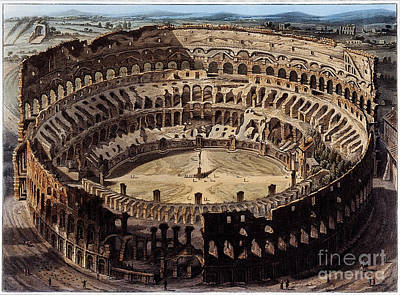 Colliseum Photograph - The Coliseum, Rome, 1820 by Wellcome Images