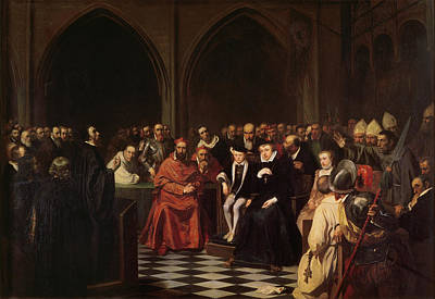 Portraits Painting - The Colloquy Of Poissy by Joseph-Nicolas Robert-Fleury