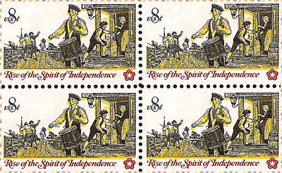 Bicentennial Painting - The Colonial Drummer Stamp  by Lanjee Chee