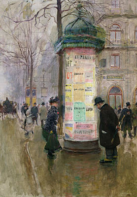 Morris Painting - The Colonne Morris by Jean Beraud