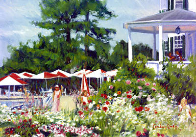 Side Porch Painting - The Colony With Umbrellas by Candace Lovely