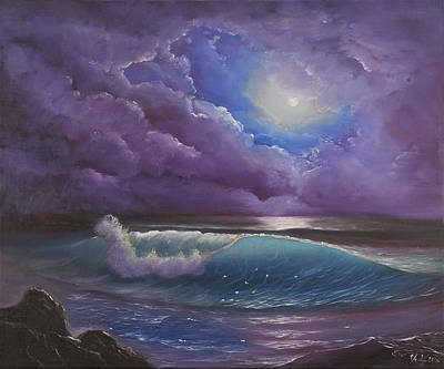 Sea Moon Full Moon Painting - The Color Of The Night by Eva Volf
