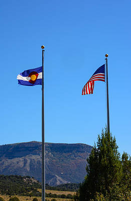 Photograph - The Colorado State Flag With Old Glory by Tikvah's Hope