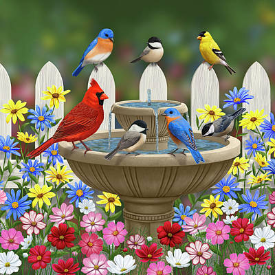 Goldfinch Painting - The Colors Of Spring - Bird Fountain In Flower Garden by Crista Forest
