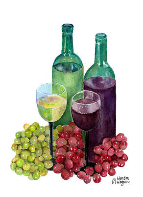 Wine Glasses Painting - The Colors Of Wine by Arline Wagner