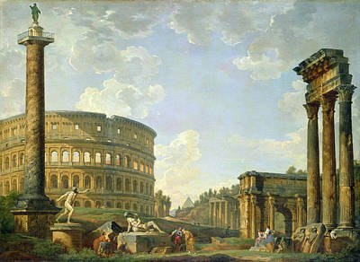 Pantheon Painting - The Colosseum And Other Monuments by Giovanni Paolo Panini