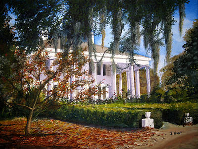 Southern Plantation Painting - The Columns by Shirley Braithwaite Hunt