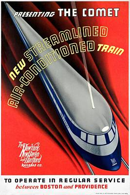 Mixed Media - The Comet New Haven Train - Restored by Vintage Advertising Posters