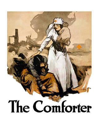 World War One Painting - The Comforter - World War One Nurse by War Is Hell Store