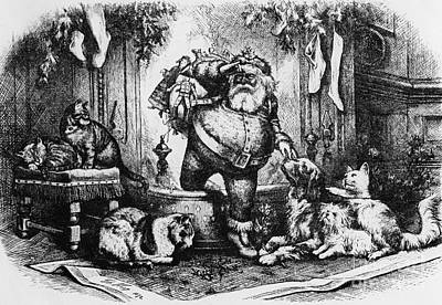 Christmas Eve Drawing - The Coming Of Santa Claus by Thomas Nast