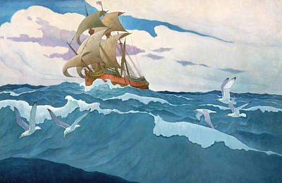 Flying Seagull Painting - The Coming Of The Mayflower  by Newell Convers Wyeth