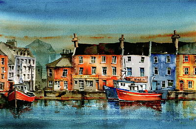 Painting - The Commercial Docks, Galway Citie by Val Byrne