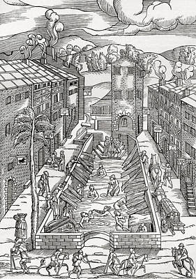 Public Bathing Drawing - The Common Spa Of The Poor And Infirm by Vintage Design Pics